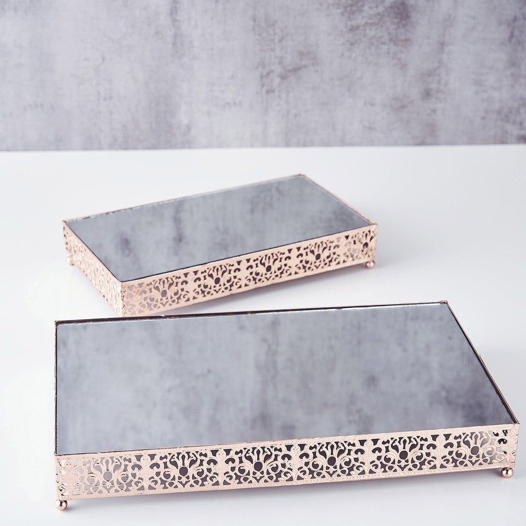 Set of 2 | Fleur De Lis Rectangle Metal Cake Stand Blush/Rose Gold Cake Riser with Mirror Top