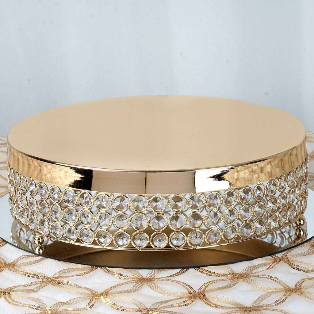 "Fancy Beaded Crystal Metal Cake Stand - 13.5"" Diameter - Gold"