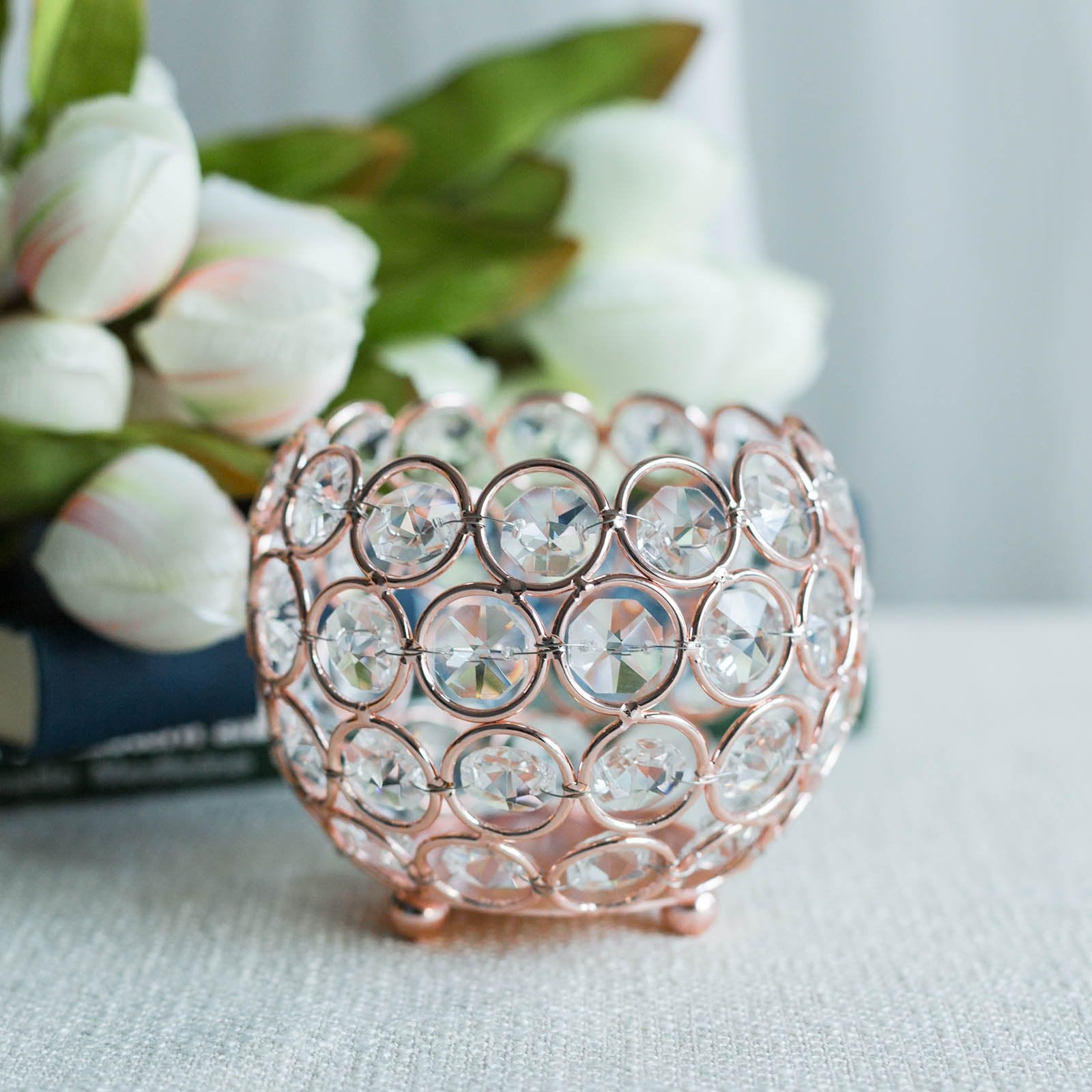 Brand New Tag Stunning Rose Gold Coloured Crystal Elasticated Ring RRP £5.00