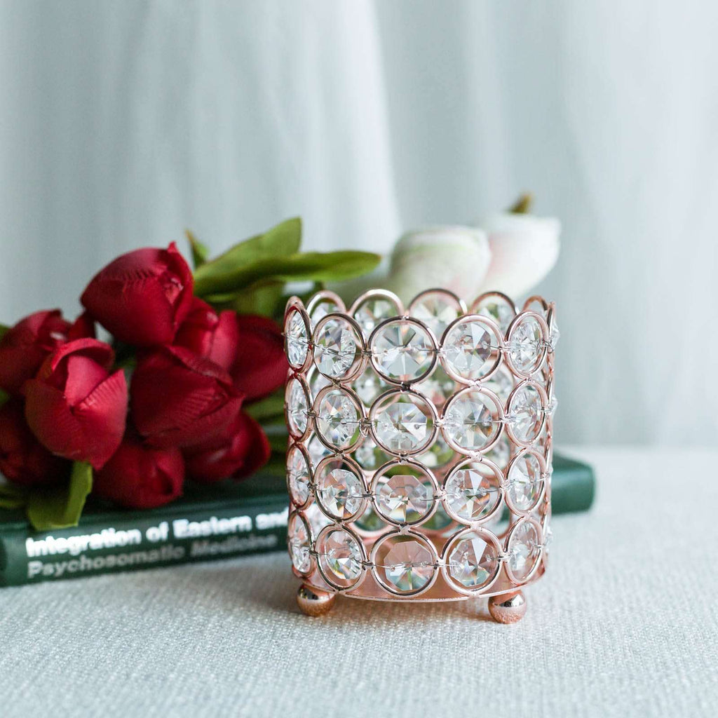 "4"" Tall Rose Gold Round Crystal Beaded Votive Tealight Crystal Candle Holder"