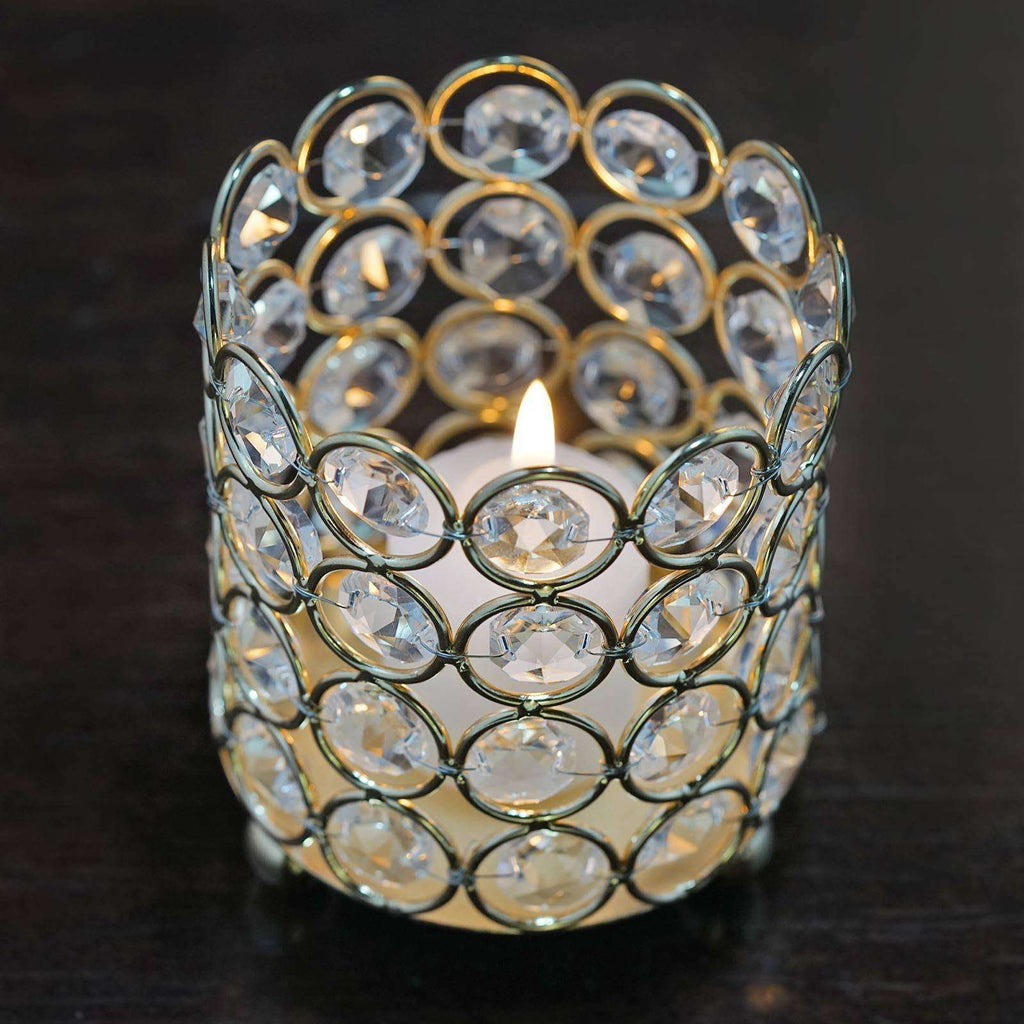 "Exquisite Wedding Votive Tealight Crystal Candle Holder - Gold - 3.25"" Dia x 3.5"" Tall"