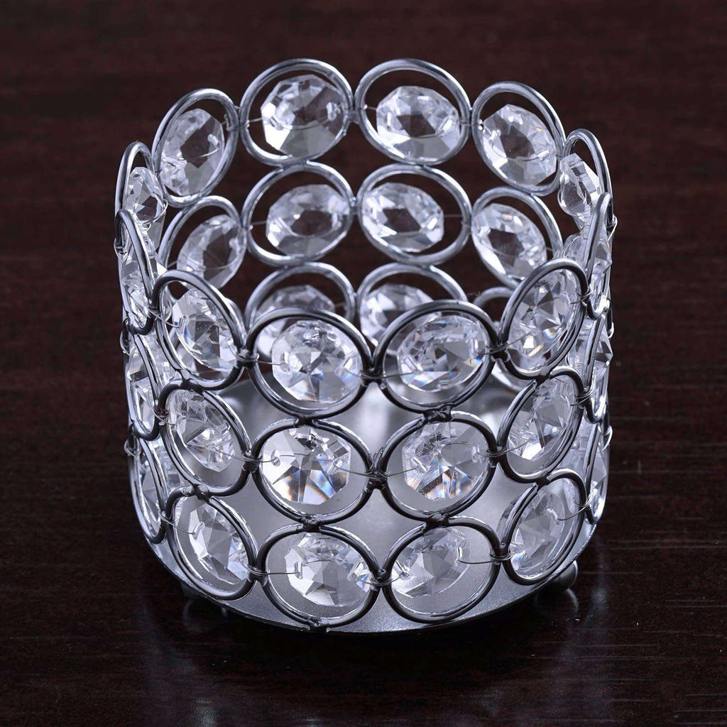 "2.75"" Tall Bejeweled Blitz  Votive Tealight Wedding Crystal Candle Holder"