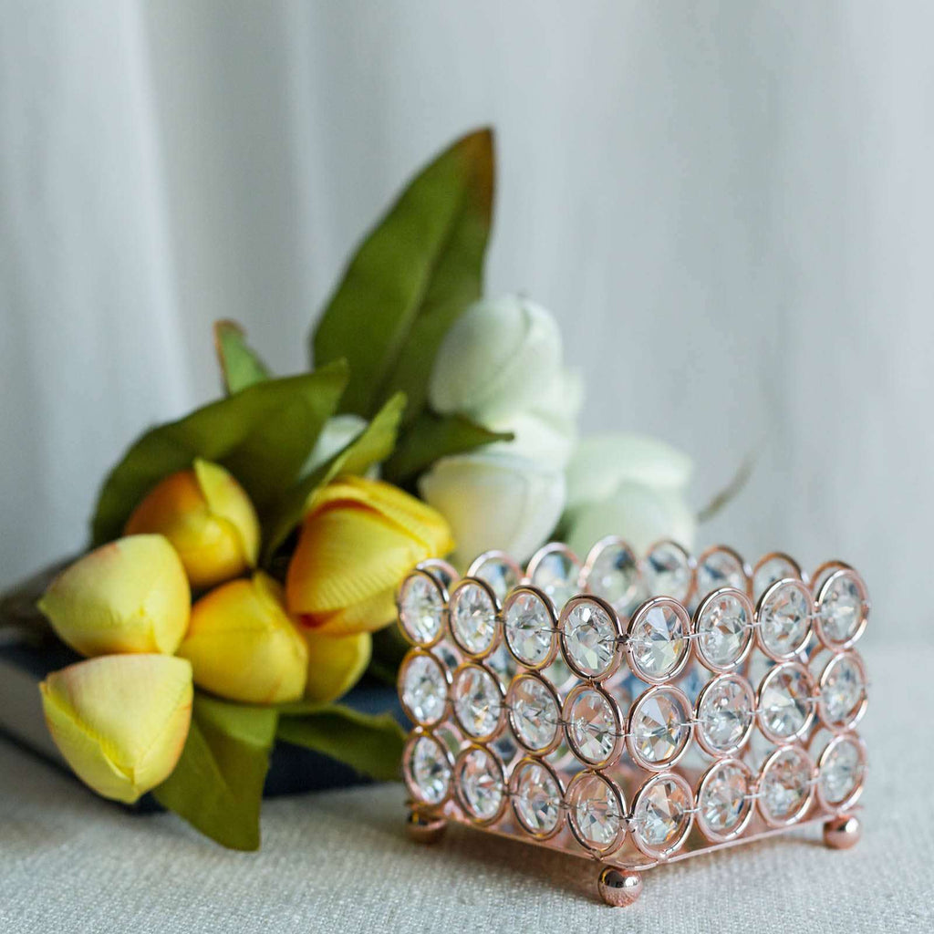 "3"" Tall Rose Gold Illuminating Square Votive Tealight Crystal Candle Holder"