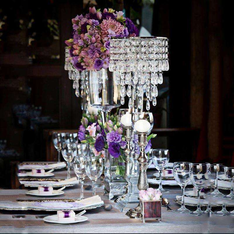 "8"" Silver Elegant Metal Votive Tealight Crystal Candle Holder Wedding Centerpiece"