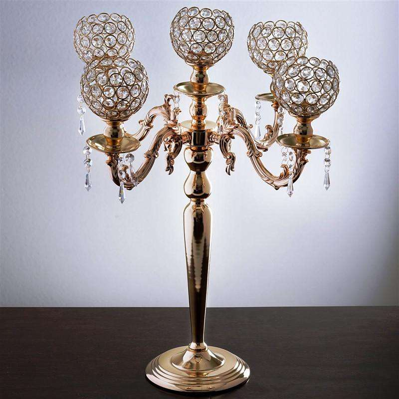 "Candelabra Chandelier Crystal Votive Candle Holder Wedding Centerpiece - 25"" Tall - Gold"