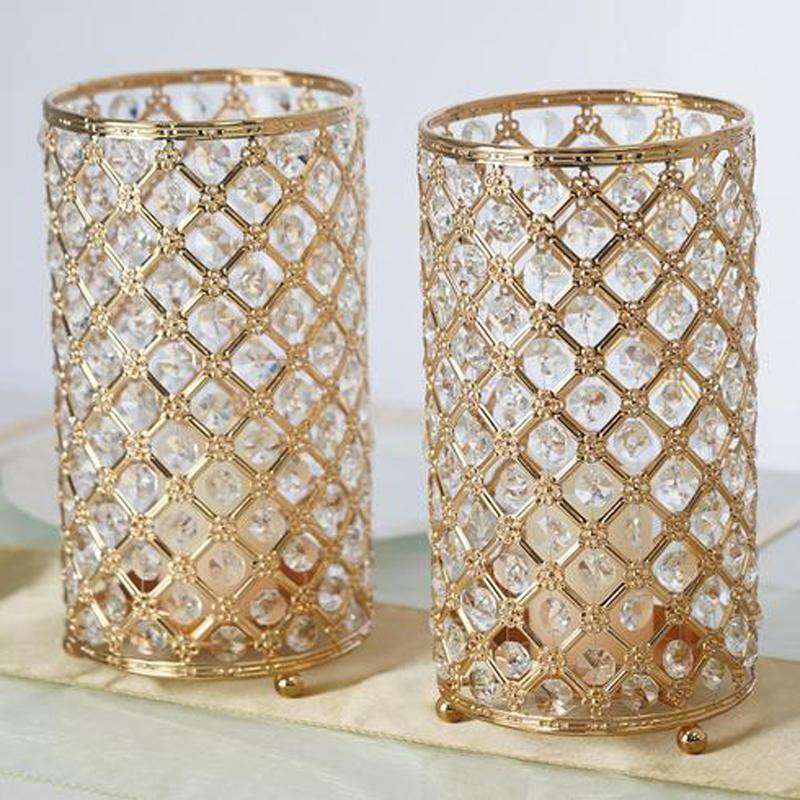 "2 Pack 9"" Tall Metallic Gold Crystal Beaded Pillar Votive Candle Holder Wedding Centerpiece"