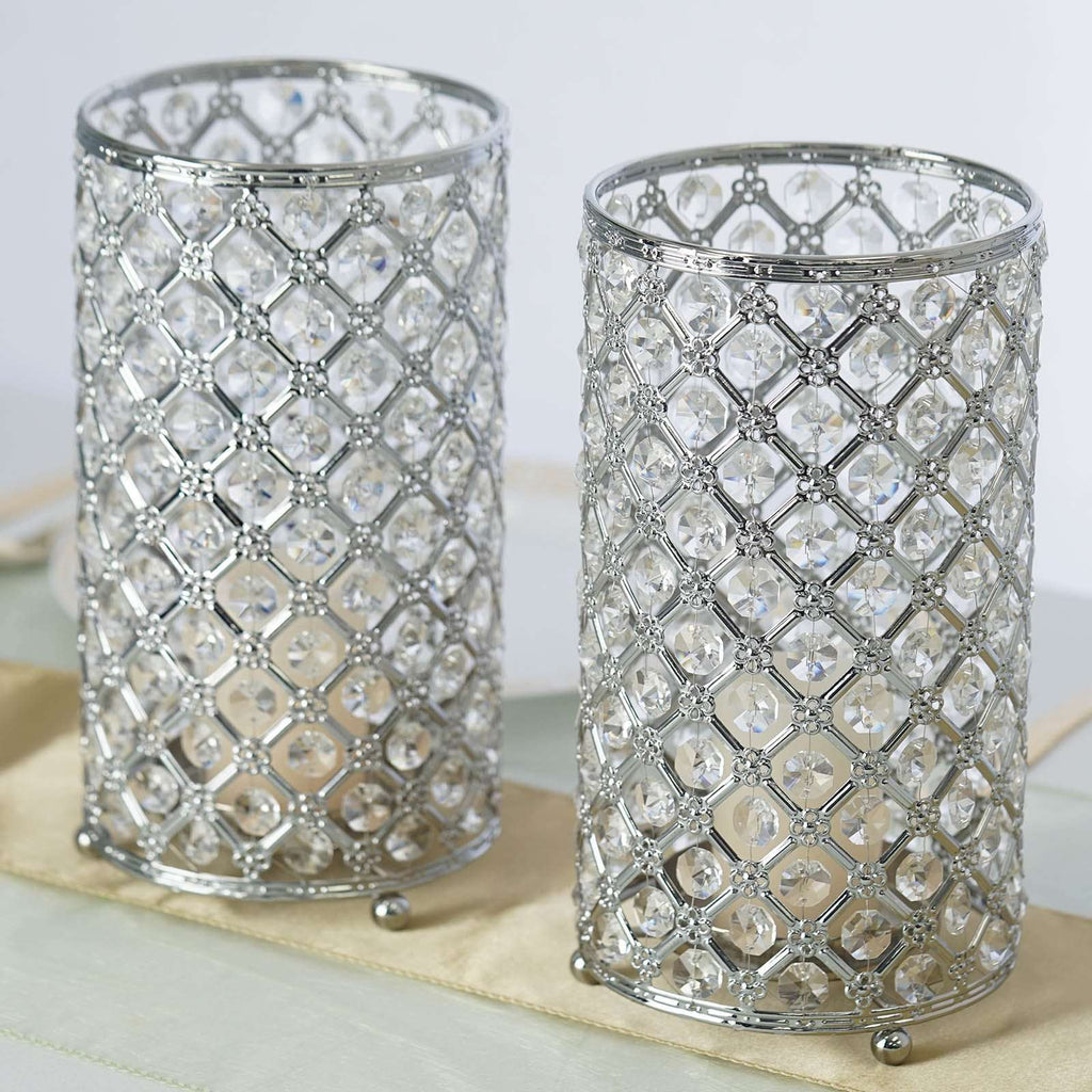 "2 Pack 9"" Tall Metallic Silver Crystal Beaded Pillar Votive Tea light Candle Holder Wedding Centerpiece"