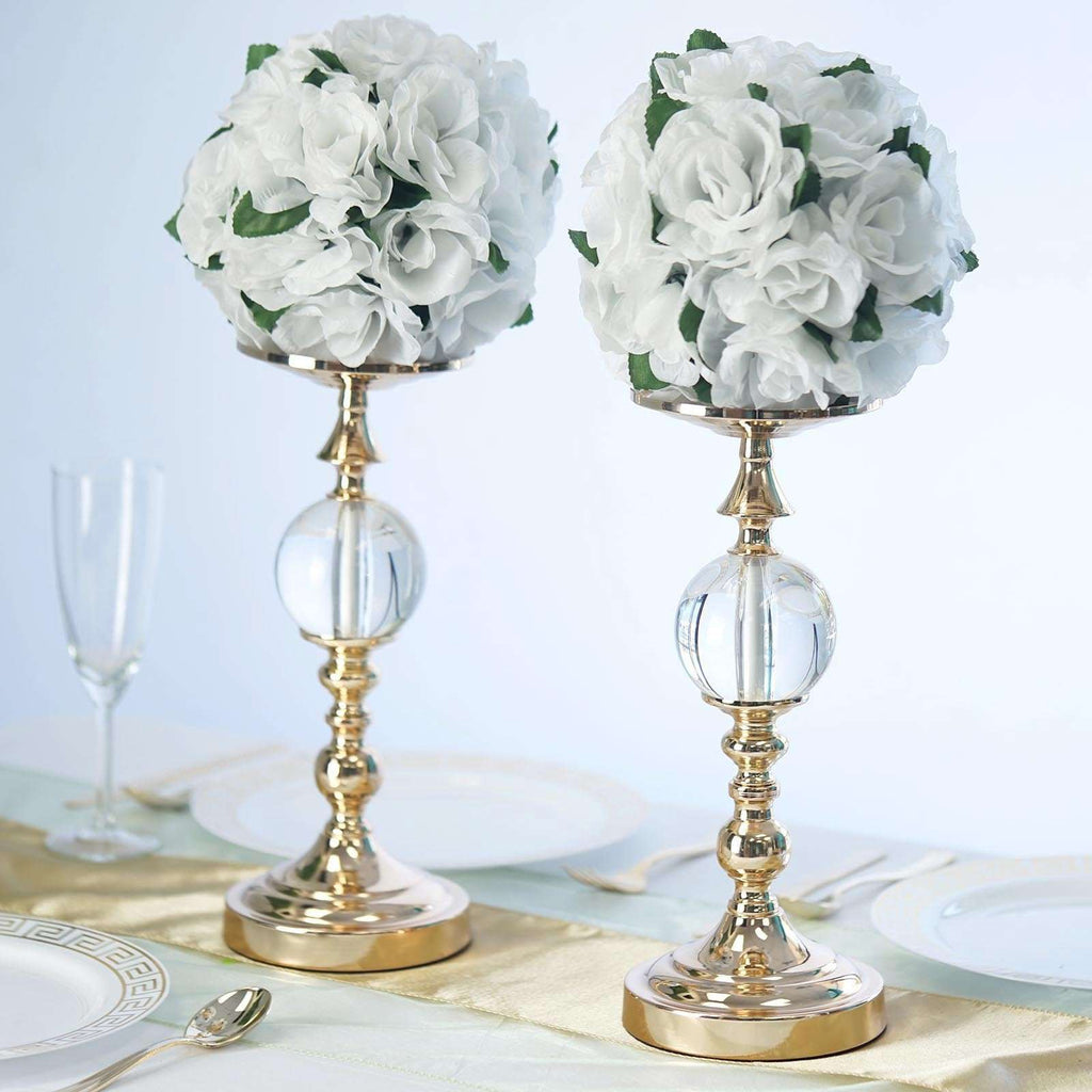 "2 Pack 13"" Tall Gold Metallic Floral Vase Riser With Clear Acrylic Ball Center"