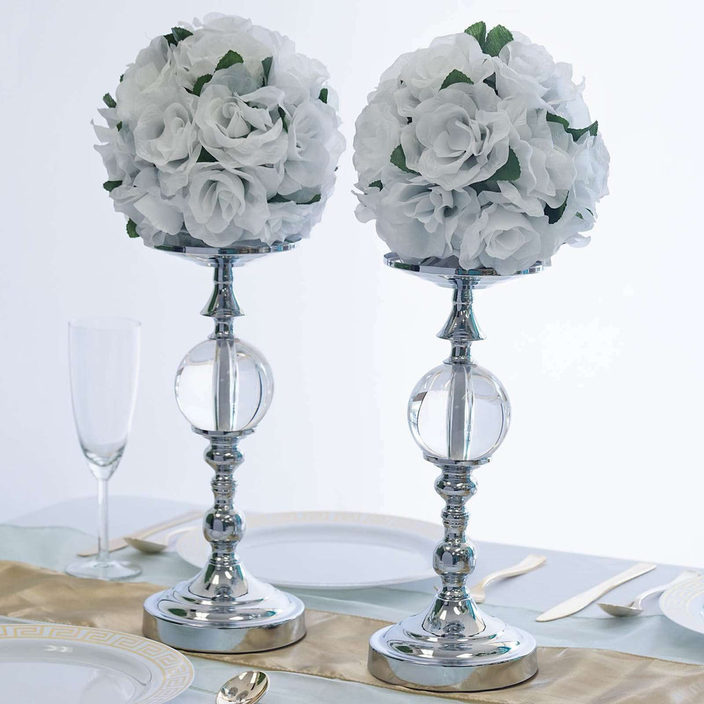 "2 Pack 13"" Tall Silver Metallic Floral Vase Riser With Clear Acrylic Ball Center"