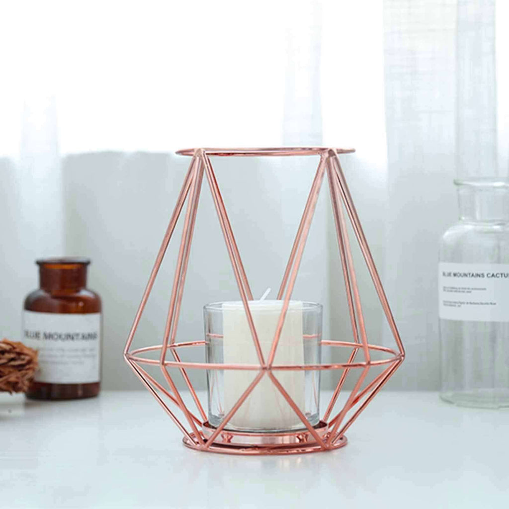 "2 Pack | 7"" Rose Gold Geometric Design Candle Stand With Glass Votive Holder"