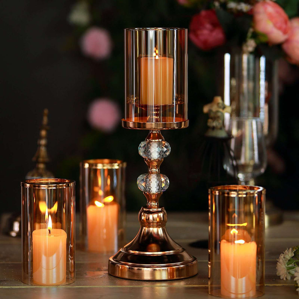 "15"" Tall Gold Metal Pillar Votive Candle Holder With Hurricane Glass Cover"