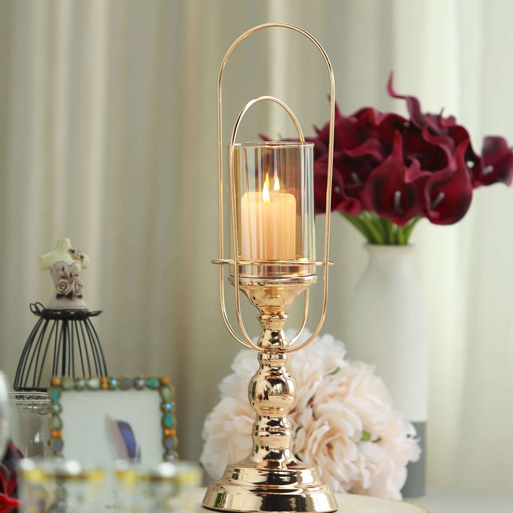 "15"" Gold Metal Coiled Design Candle Stand with Amber Glass Hurricane Candle Holder"