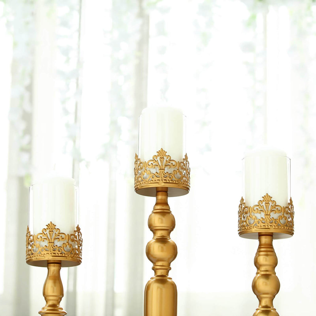 "Set of 3 | Lace Design Gold Amber Hurricane Glass Candle Holder Set With Glass Tube - 12""/14""/17"""