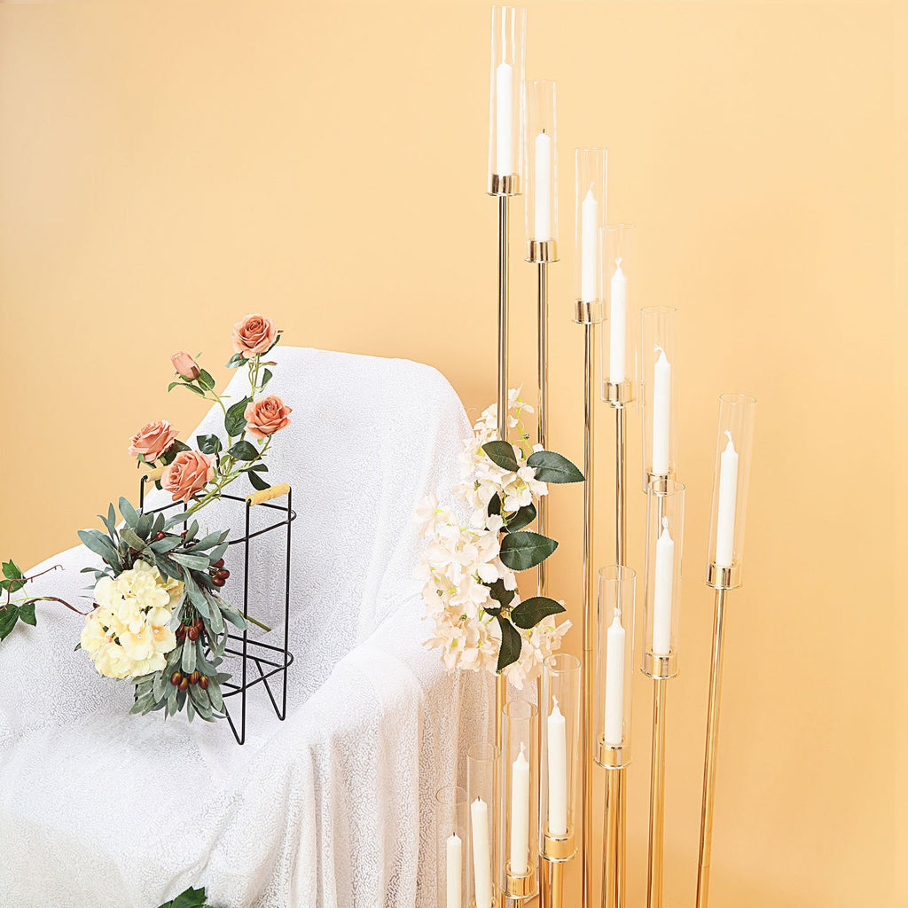12 Arm Glass Cylinder Gold Metal Candelabra, Glass Candle Holders, Gold Metal Candle Holders