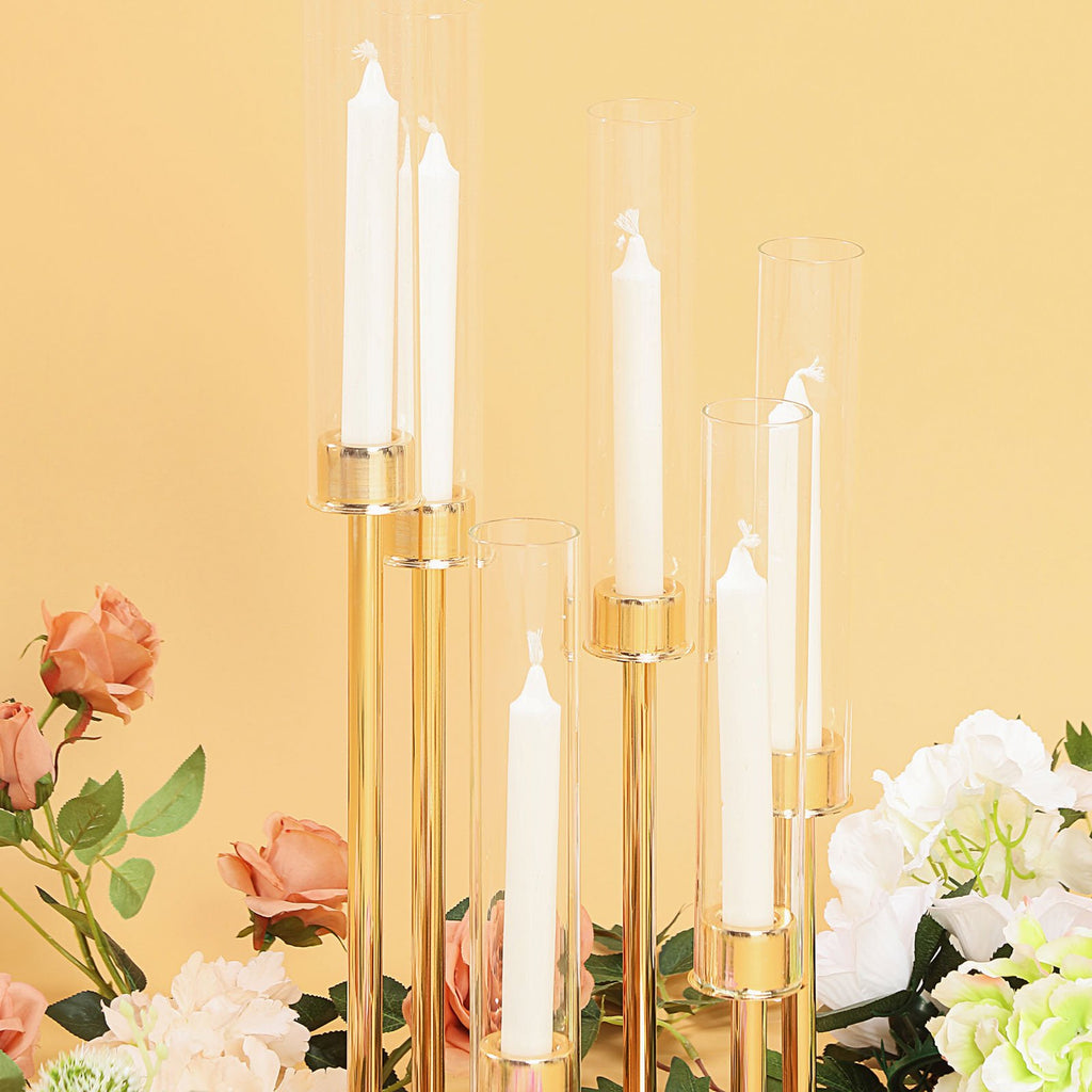 6 Arm Glass Cylinder Gold Metal Candelabra, Glass Candle Holders, Gold Metal Candle Holders