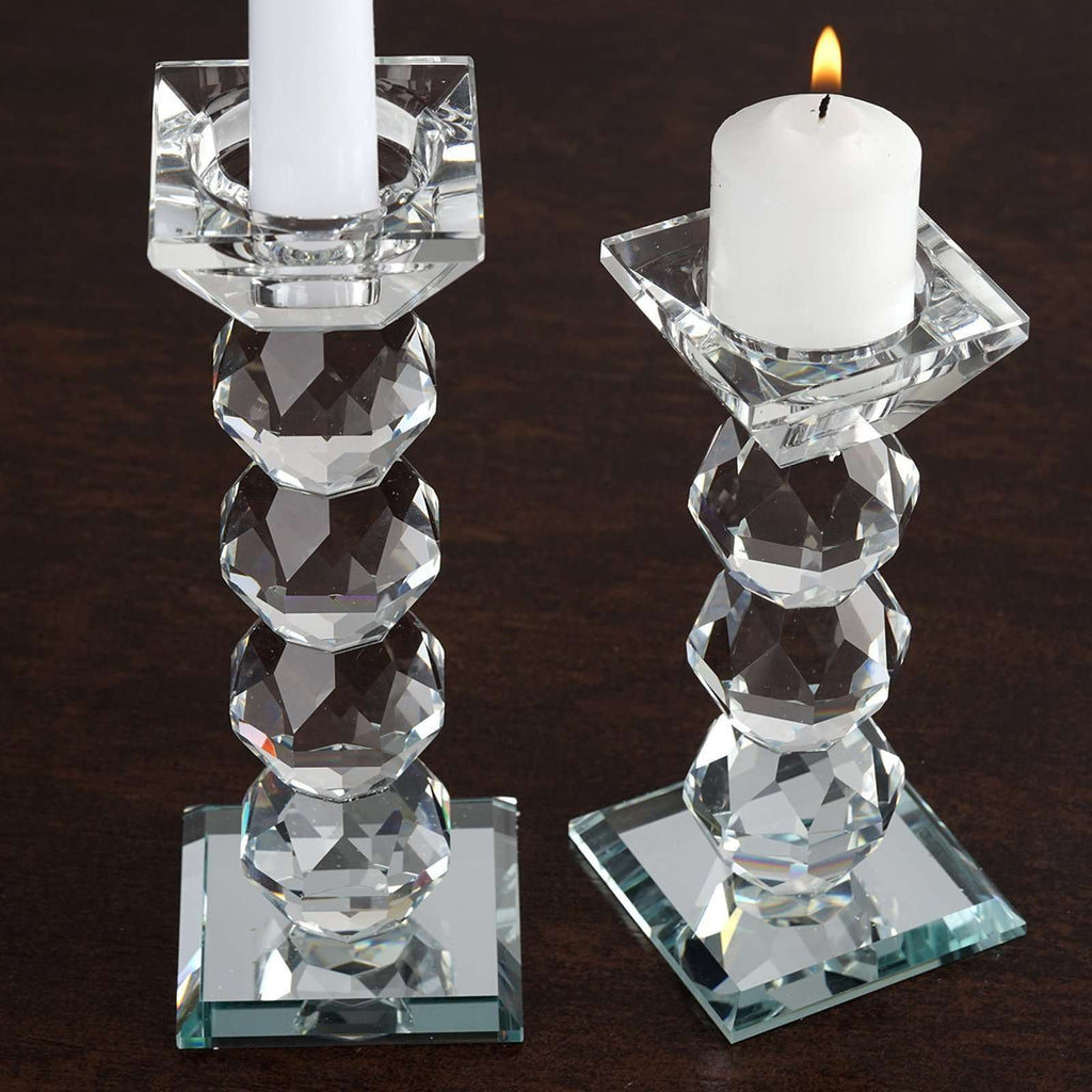 "7"" Handcrafted Crystal Glass Votive Candle Holder Table Top Decor"