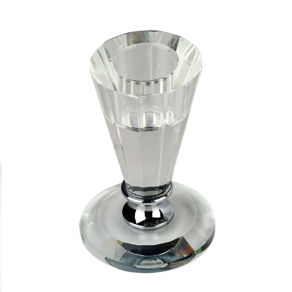"3"" Gemcut Egyptian Handcrafted Glass Crystal Votive Candlestick Holder With Silver Metal Stem Table Top Wedding Centerpiece - 1 PCS"