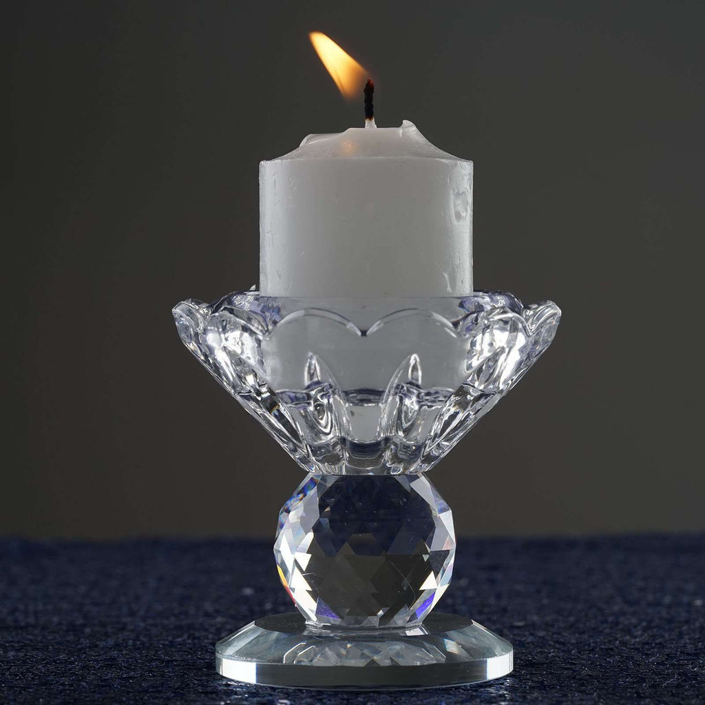 "2.5"" Handcrafted Glass Crystal Prism Votive Candlestick Holder Table Top Decor"