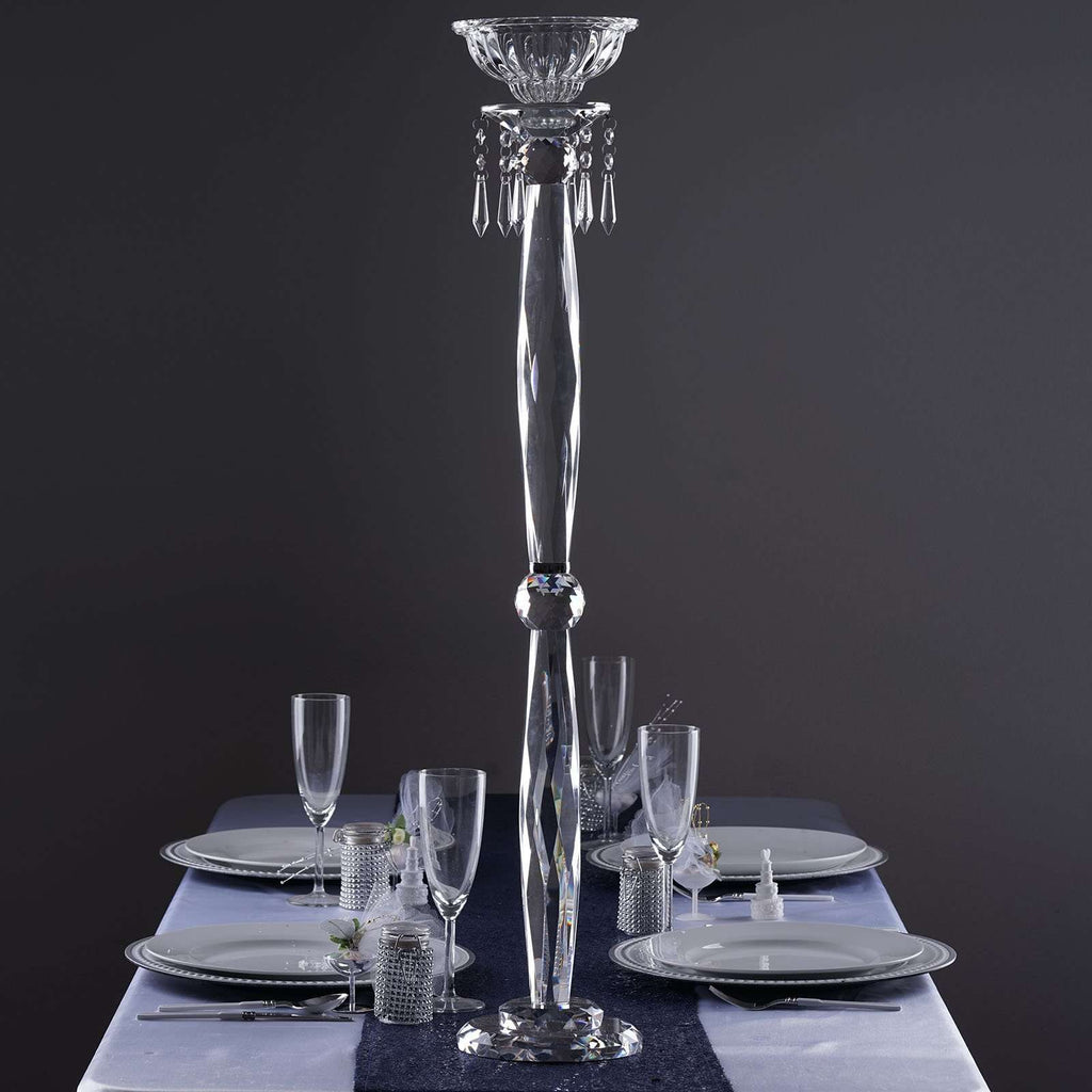 "35"" Gemcut Egyptian Handcrafted Glass Floral Vase Votive Candle Holder Table Top Wedding Centerpiece - 1 PCS"