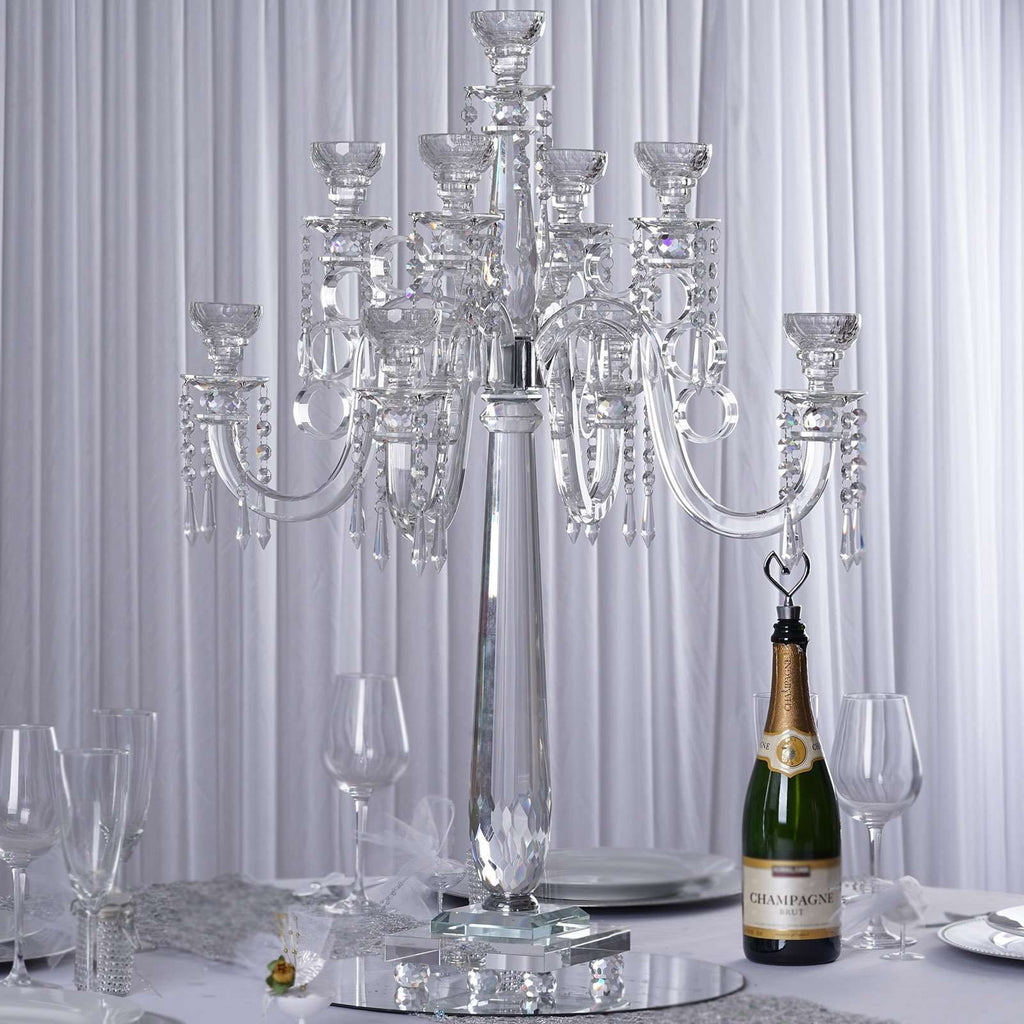 "33"" Tall Handcrafted 9 Holders Crystal Glass Tabletop Candelabra Taper Votive Candle Holder Centerpieces - PREMIUM Collection"