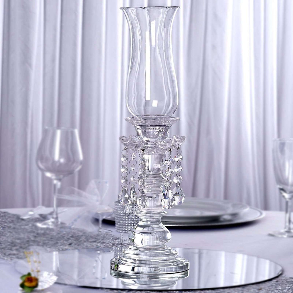 "20"" Tall Handcrafted Crystal Glass Tabletop Candelabra Baroque Taper Votive Candle Holder Centerpieces - PREMIUM Collection"