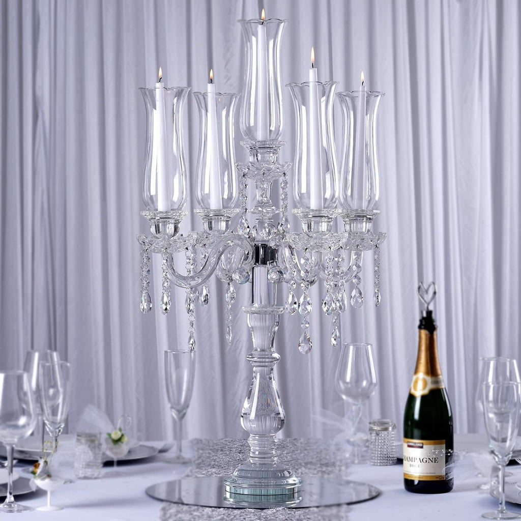 "32"" Tall Handcrafted 5 Arm Crystal Glass Tabletop Candelabra Hurricane Taper Candle Holder Centerpieces - PREMIUM Collection"