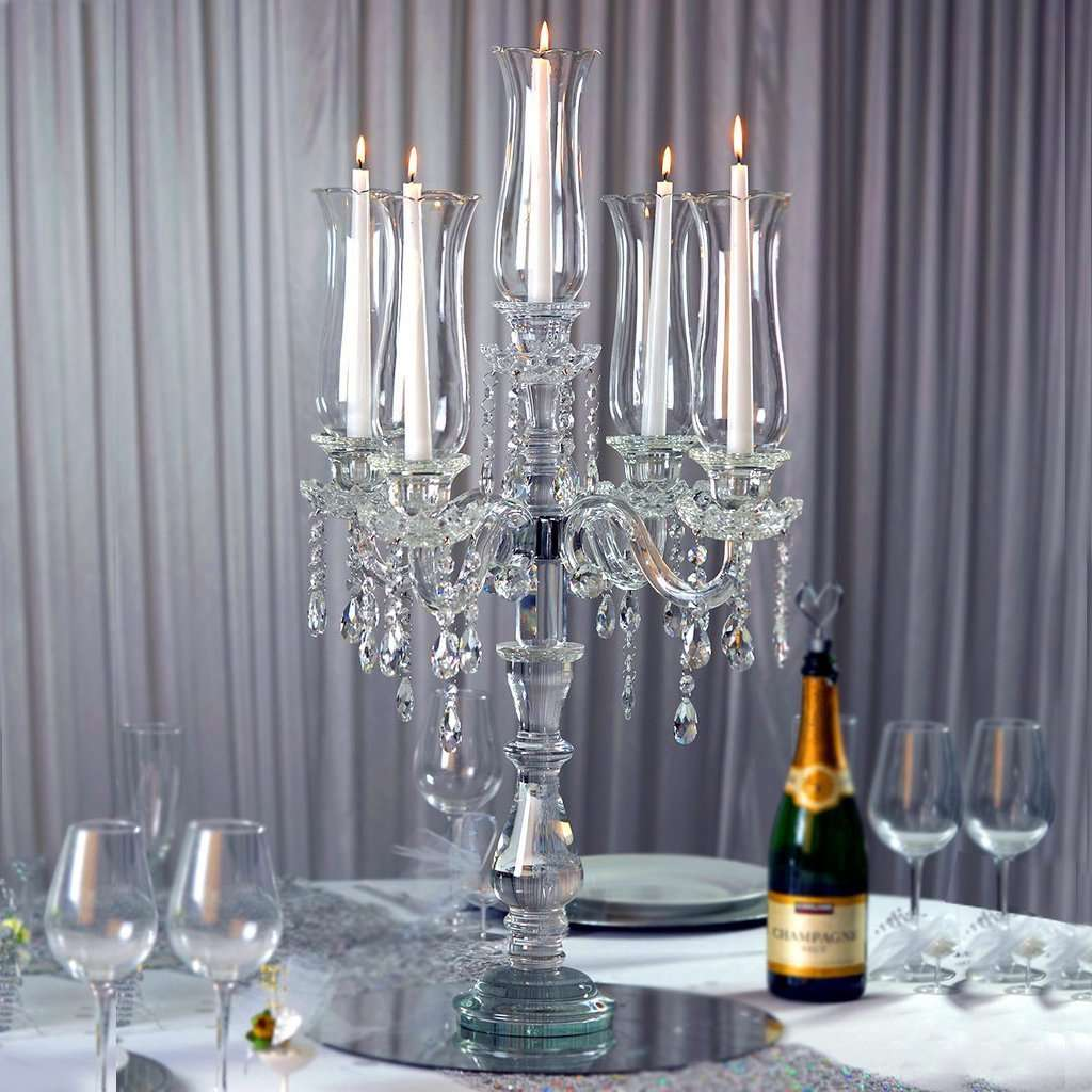 32 Tall Handcrafted 5 Arm Crystal Glass Tabletop Candelabra Hurricane Chaircoverfactory