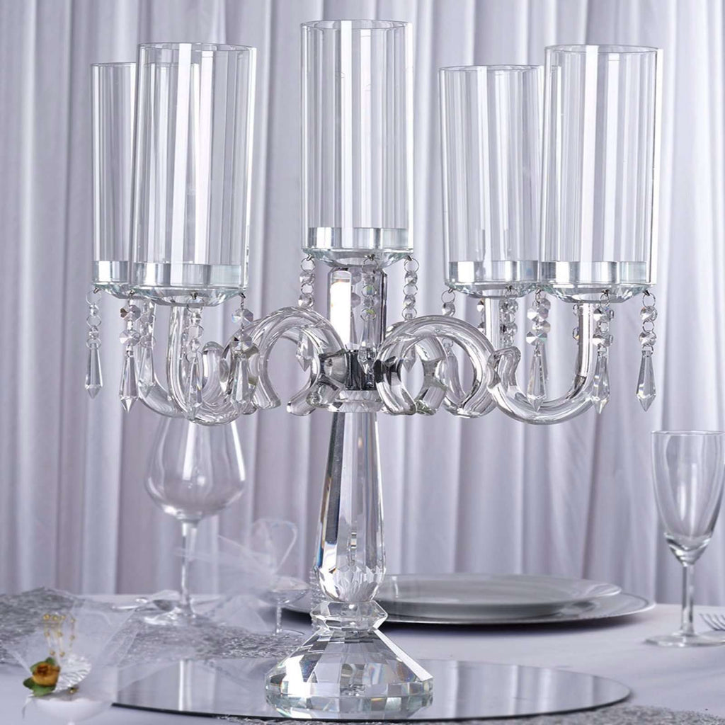 "23"" Tall Handcrafted 5 Arm Crystal Glass Tabletop Candelabra Baroque Taper Votive Candle Holder Centerpieces - PREMIUM Collection"