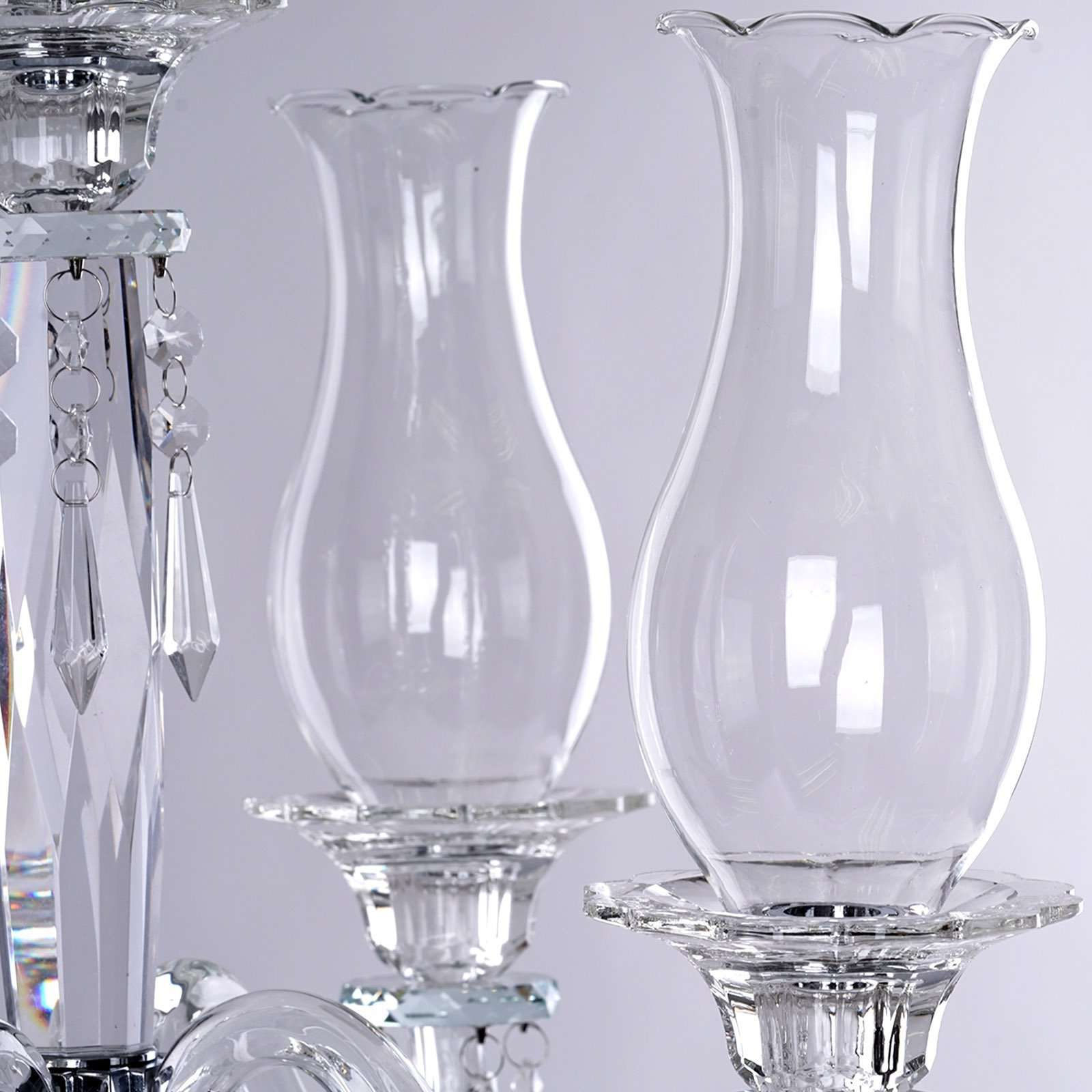 40 Tall Handcrafted 5 Arm Crystal Glass Table Top Candelabra Hurrican Chaircoverfactory