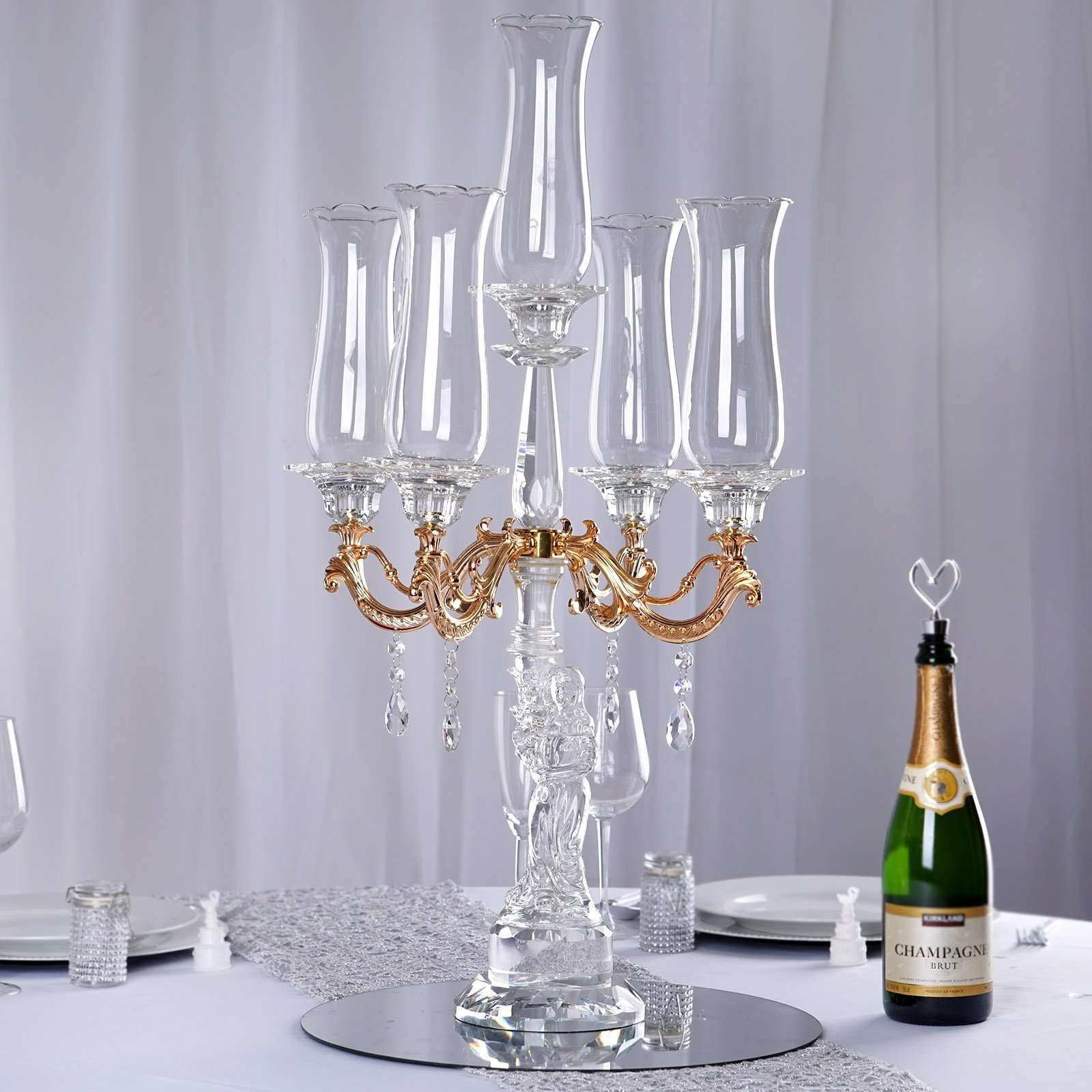 31 Tall Handcrafted 5 Gold Arm Crystal Glass Table Top Candelabra Hur Chaircoverfactory