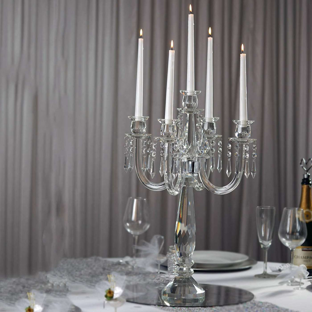 "22"" Tall Handcrafted 5 Arm Crystal Glass Tabletop Candelabra Baroque Taper Votive Candle Holder Centerpieces - PREMIUM Collection"