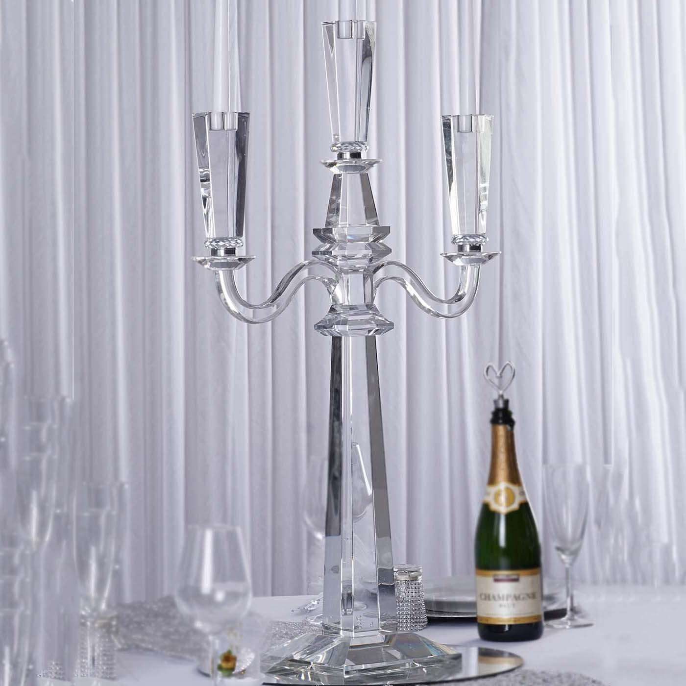32 Tall Handcrafted Gem Cut 3 Arm Crystal Modern Glass Tabletop Cande Chaircoverfactory