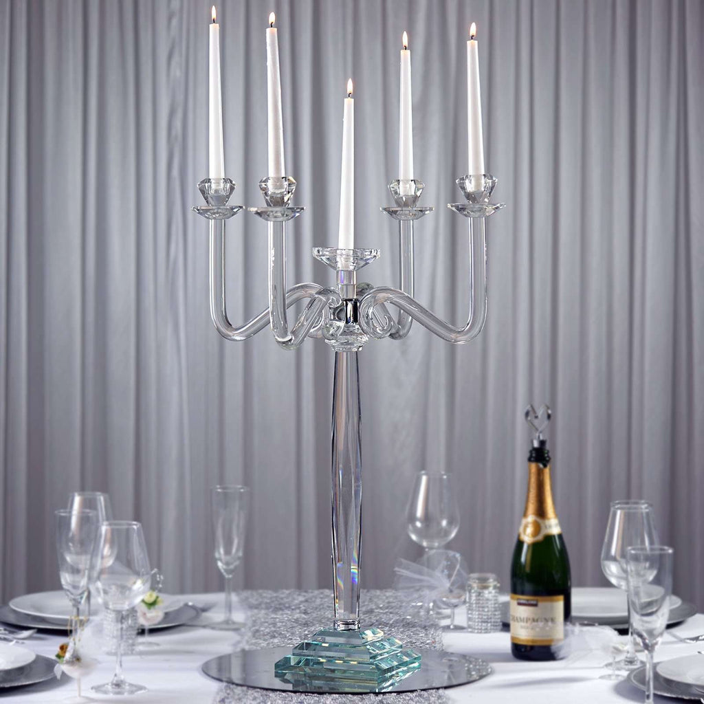 "27"" Tall Handcrafted Gem Cut 5 Arm Crystal Modern Glass Tabletop Candelabra Taper Pillar Votive Candle Holder Centerpieces - PREMIUM Collection"