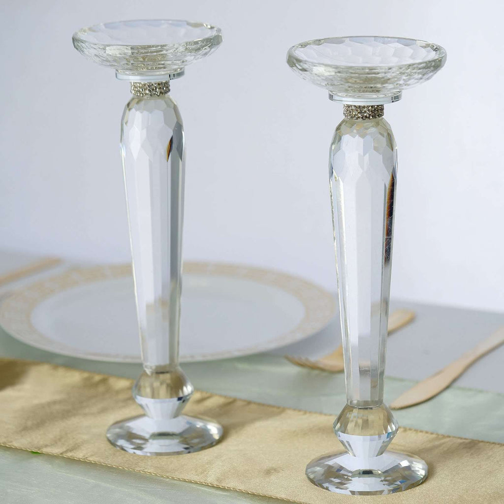 "2 Pack 11"" Tall Premium Cut Glass Crystal Candle Holder Floral Stand Centerpiece Riser"