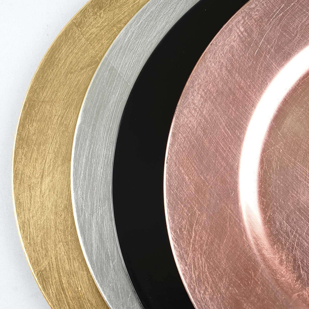 "6 Pack 13"" Acrylic Round Charger Server Plate Dinnerware - Rose Gold 