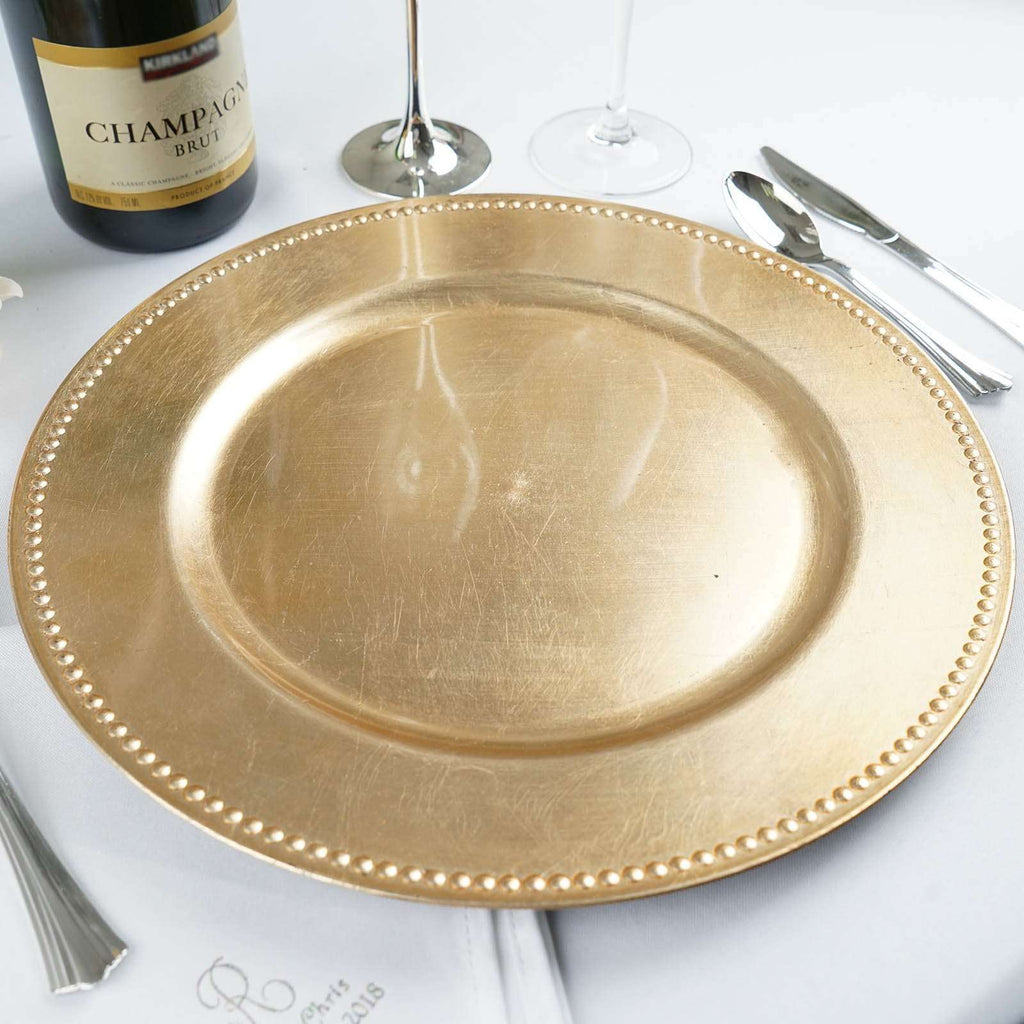 "6 Pack 13"" Round Gold Beaded Acrylic Charger Plates Home Dinner Servers"