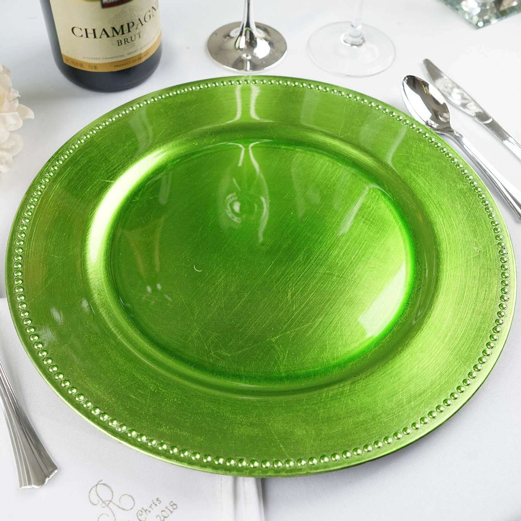 "6 Pack Round 13"" Lime Beaded Acrylic Charger Plates Wedding Party Dinner Servers"