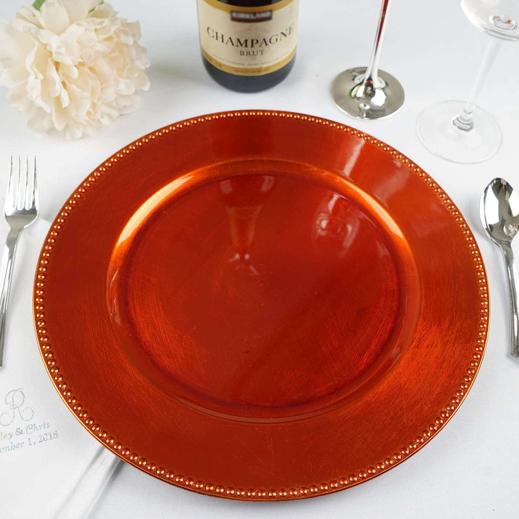 "6 Pack Round 13"" Orange Beaded Acrylic Charger Plates Wedding Party Dinner Servers"