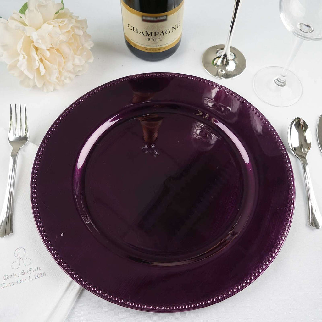 "6 Pack 13"" Round Purple Beaded Acrylic Charger Plates Home Dinner Servers"