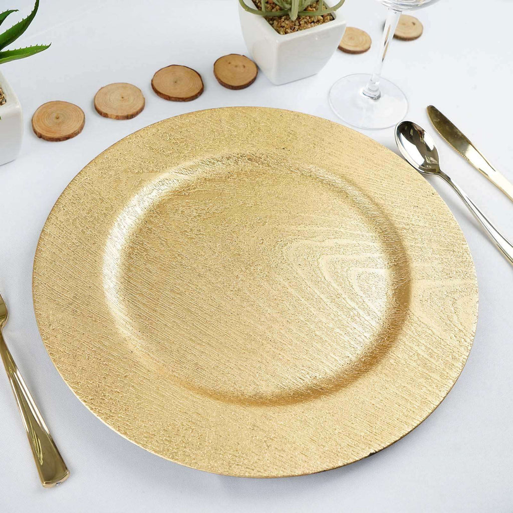 "6 Pack 13"" Round Wooden Textured Gold Acrylic Charger Plates Home Dinner Servers"