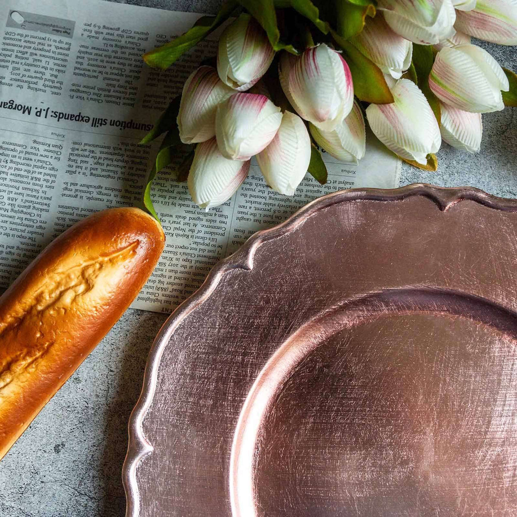 "(Set of 6) 13"" Metallic Scalloped Edge Acrylic Plastic Charger Plates- Rose Gold 