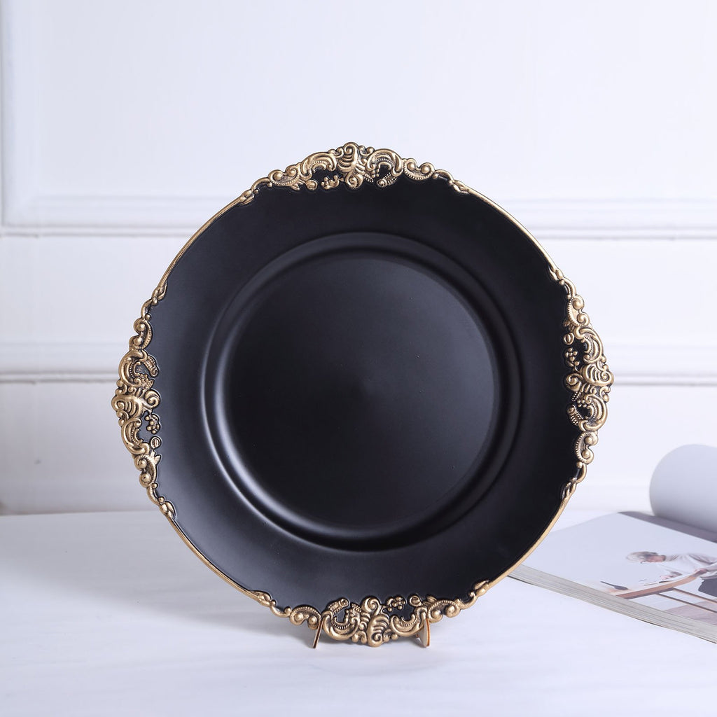 "Pack of 6 | 13"" Matte Black Round Baroque Charger Plates 