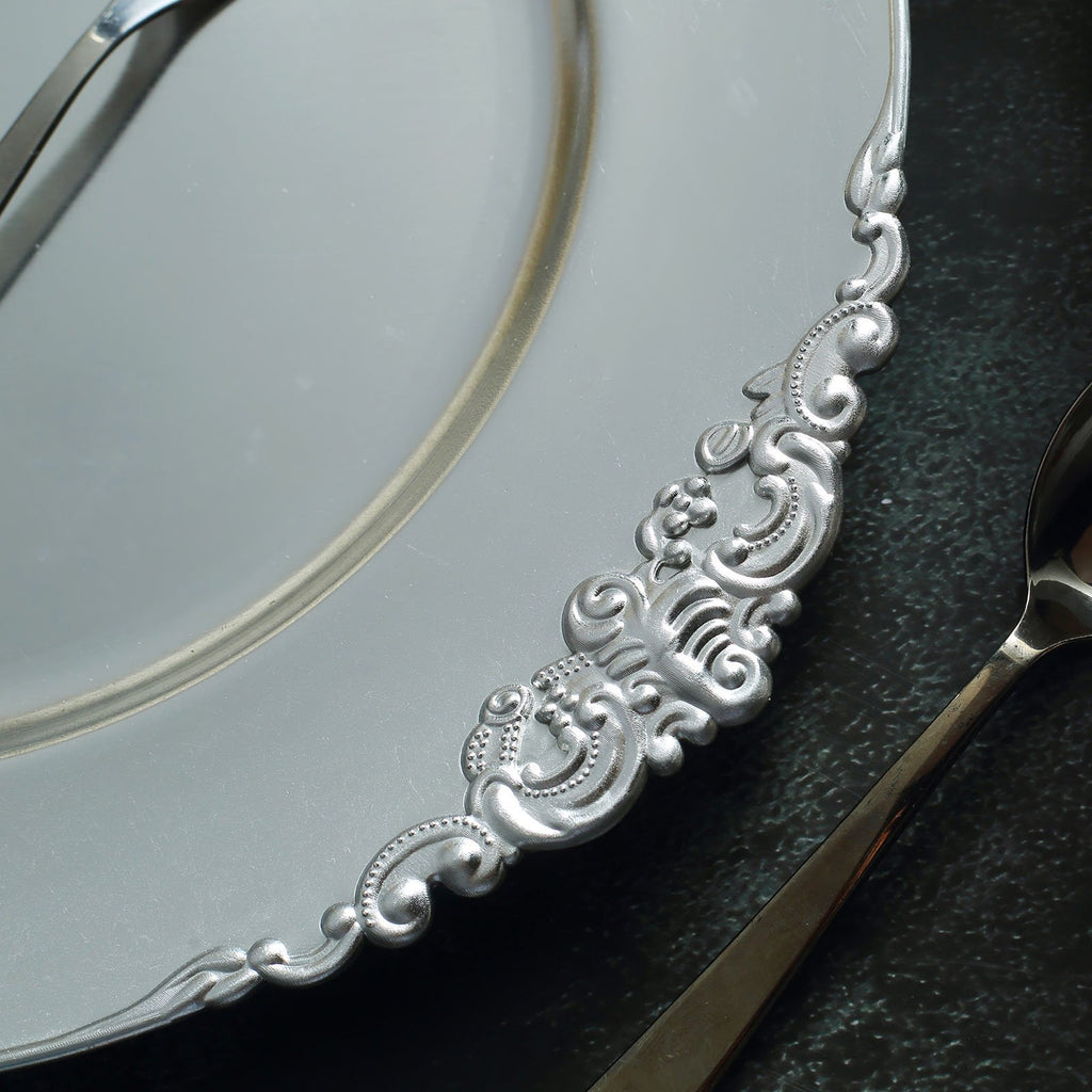 "Pack of 6 | Silver | 13"" Round Baroque Charger Plates 