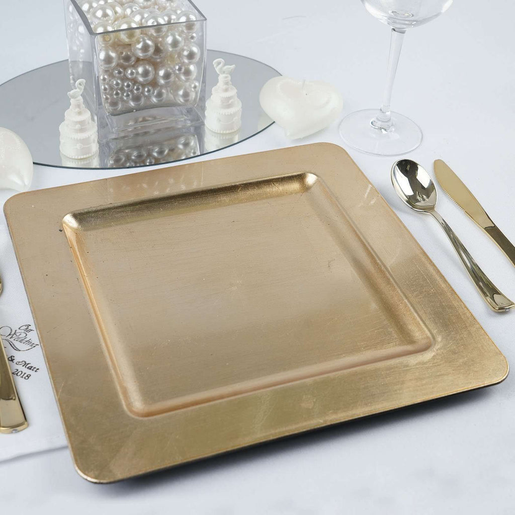 "6 Pack 11.5"" Square Gold Rim Flat Acrylic Charger Plates Home Dinner Servers"