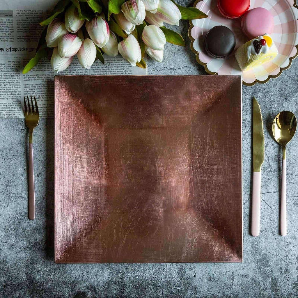 "6 Pack 12"" Square Rim Acrylic Charger Plates Home Dinner Servers - Rose Gold 