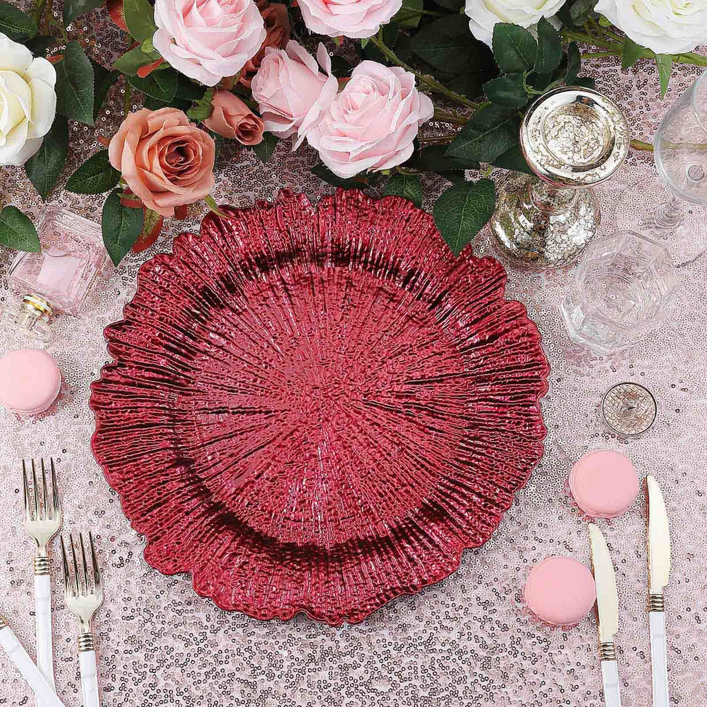 "Pack of 6 | 13"" Round Reef Burgundy Plastic Charger Plates"