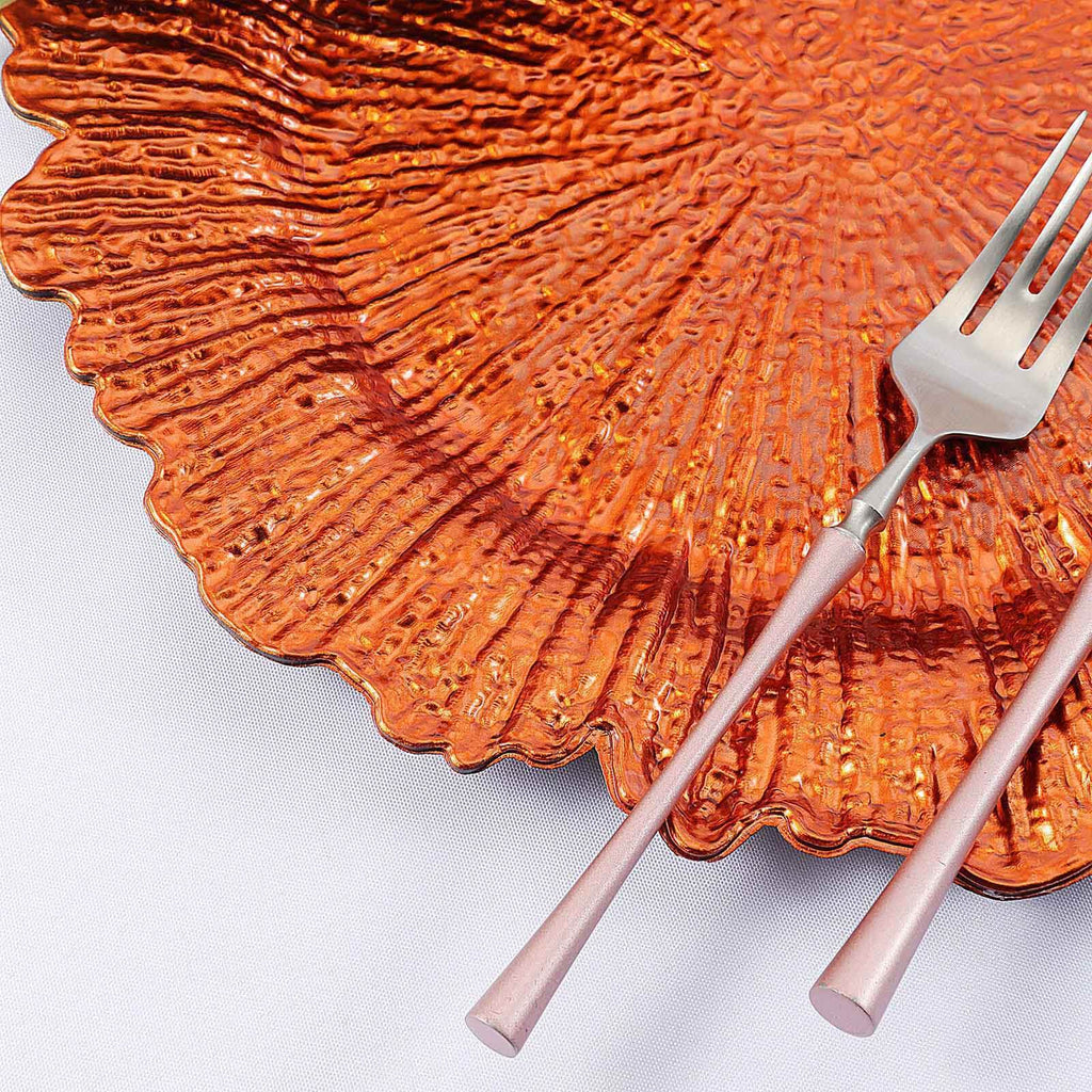 "Pack of 6 | 13"" Round Reef Orange Plastic Charger Plates"