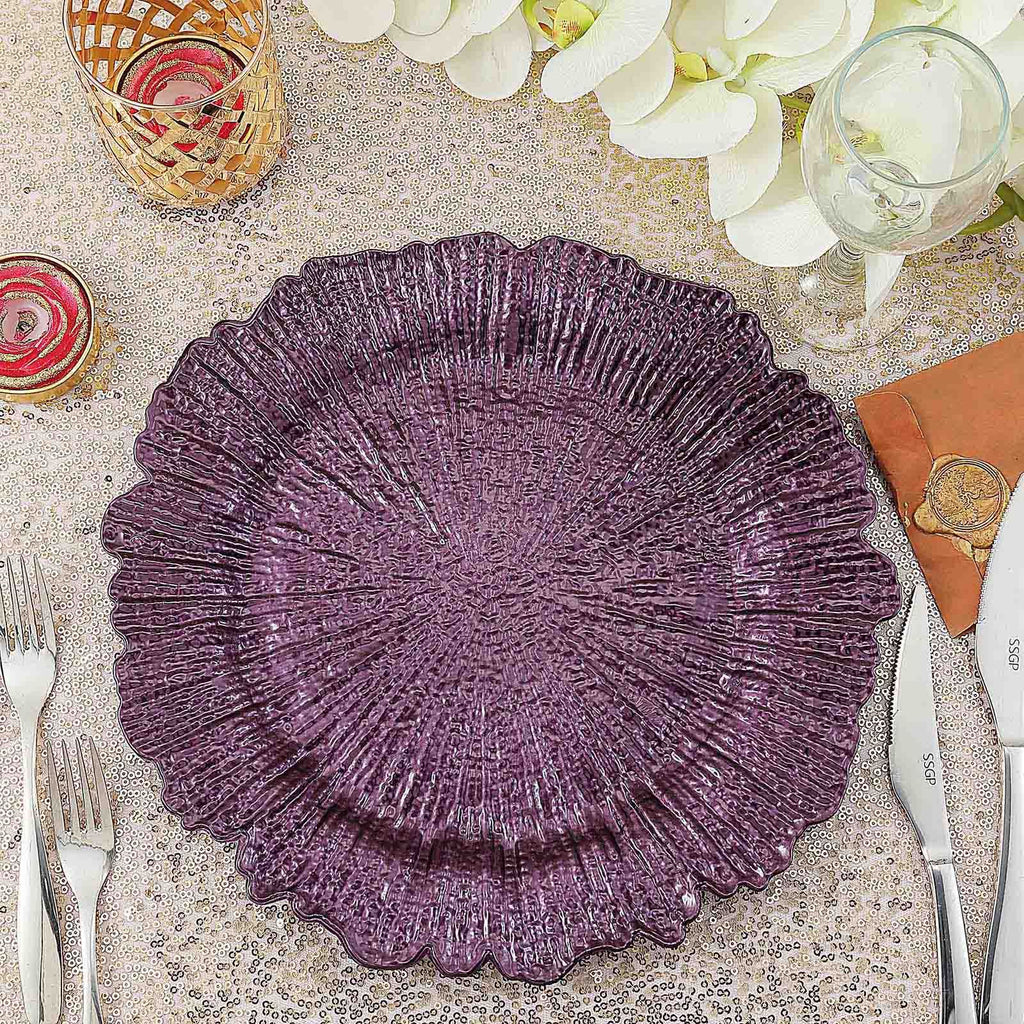 "Pack of 6 | 13"" Round Reef Purple Plastic Charger Plates"