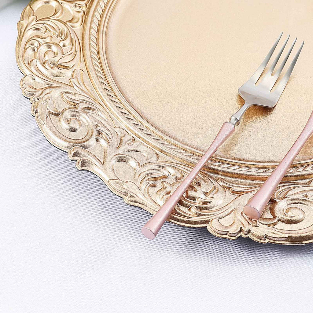 "Set of 6 | 14"" Round Metallic Gold Plastic Charger Plates With Engraved Baroque Design Rim"