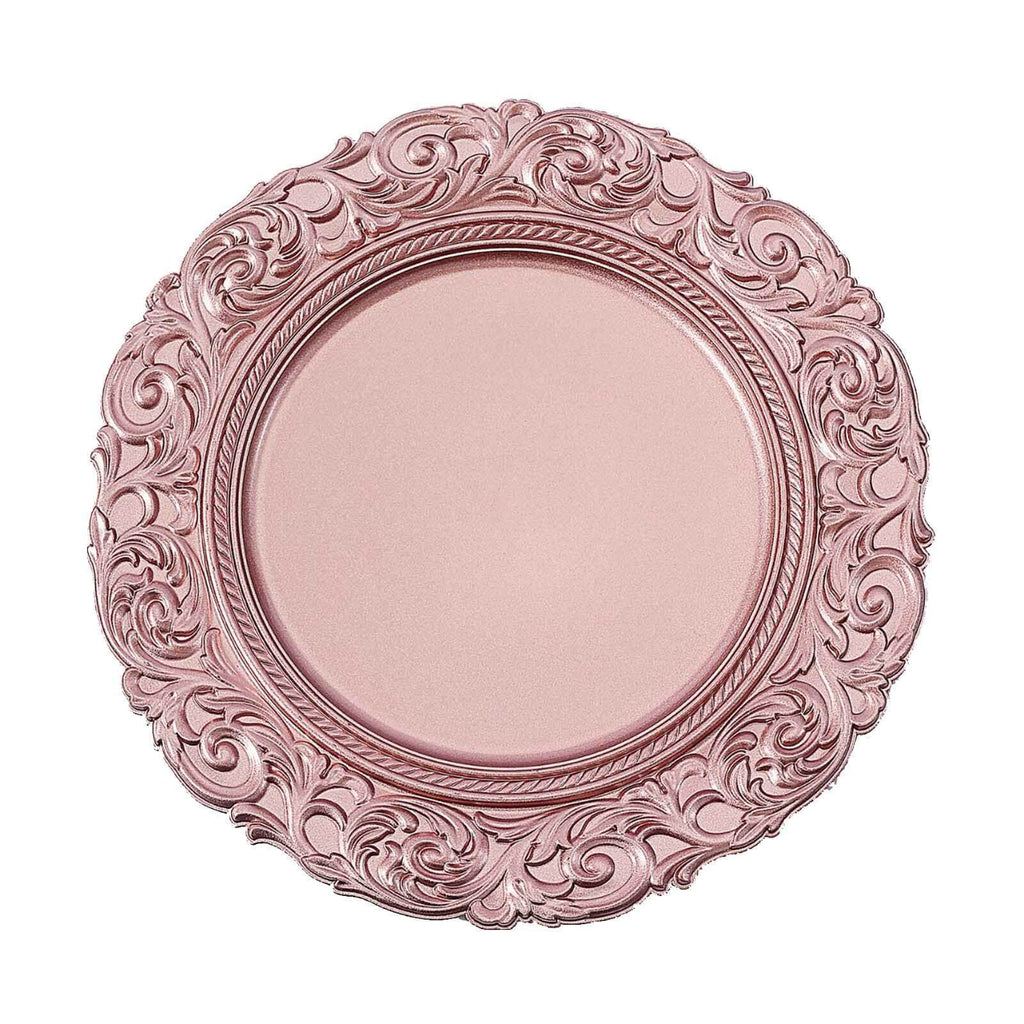 "Set of 6 | 14"" Round Metallic Rose Gold Plastic Charger Plates With Engraved Baroque Design Rim"